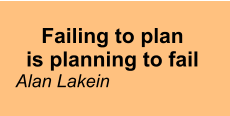 Failing to plan is planning to fail Alan Lakein